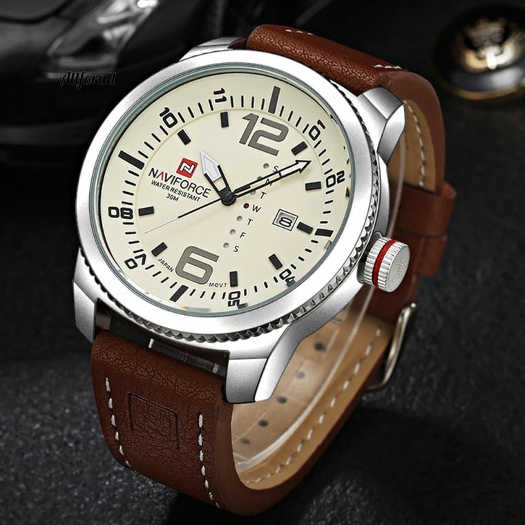 Luxury Brand Date Quartz Watch, Men Casual Military Sports Watches, Leather Male Wristwatch