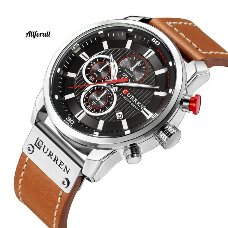 Luxury Brand Men Analog Digital Leather Sports Watches, Men's Army Military Watch, Man Quartz Clock