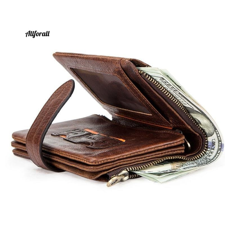 Luxury Brand Men Wallet, Genuine Leather Bifold Short Wallet, Hasp Casual Purse Coin Multifunctional Card Holder