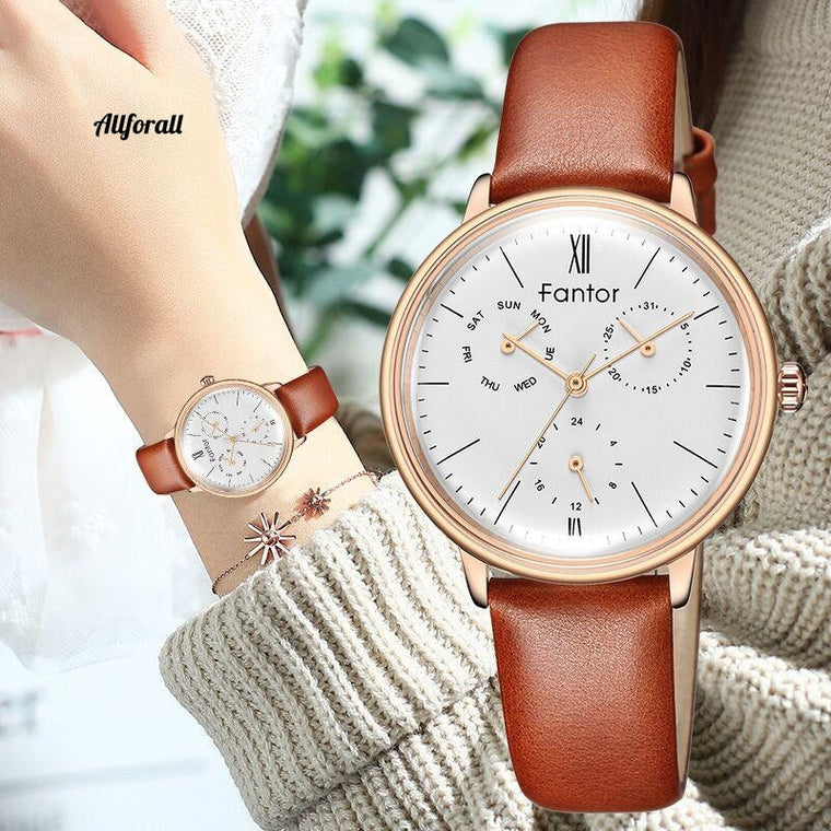 Luxury Brand Watches, Women Chronograph Waterproof Elegant Leather Wristwatches