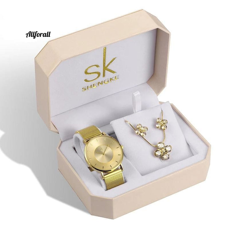 Luxury Gold Watches, Earrings Necklace Set, Top Brand SK Ladies Wrist Watch With Crystal Jewelry Set