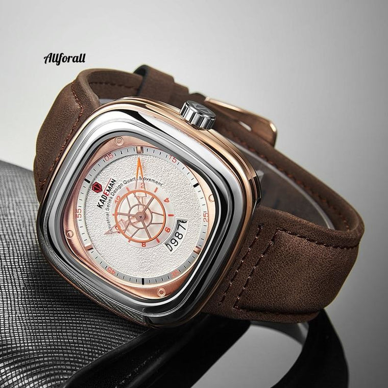 Luxury Square Men Luxury Sports Quartz Watch, TOP Brand Casual Leather Armbandsur