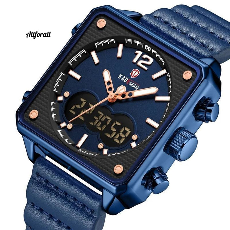 Luxury Square Watch, Men Original Sport Watch, TOP Brand Dual Display 3ATM Tech Wristwatches