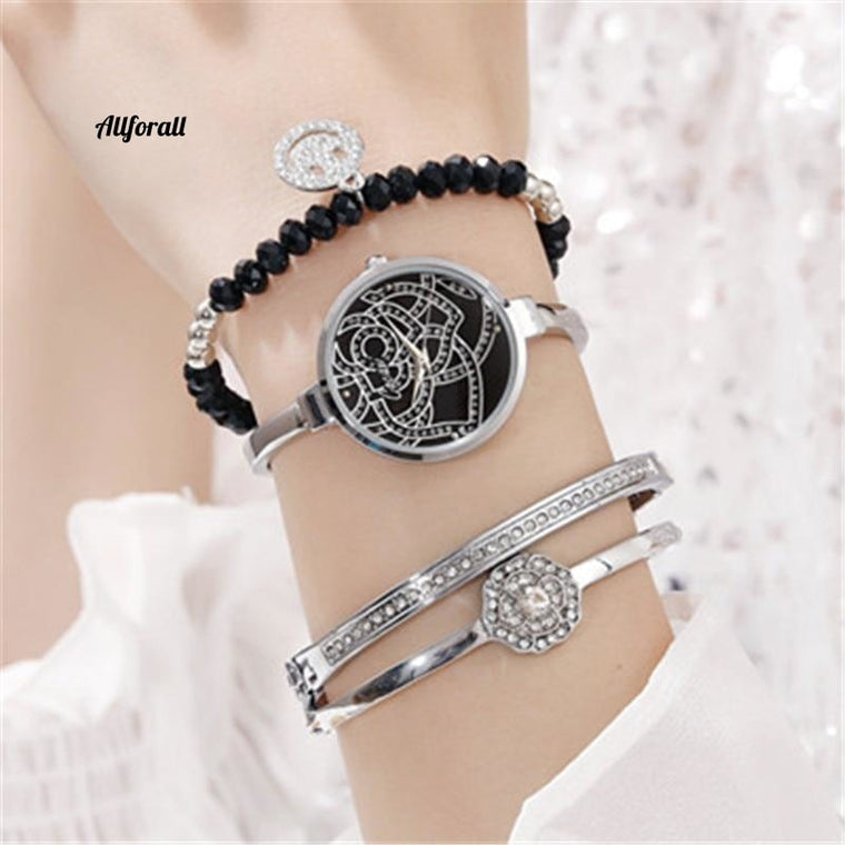 Luxury Women Alloy Gold Jewelry Bracelet Wristwatch Set, Women Popular Watch Set