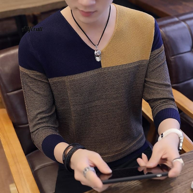 Men Autumn Winter Thick Warm Sweaters, Casual Patchwork V-Neck Pullover, Men Wool Knitwear Jersey Hombre