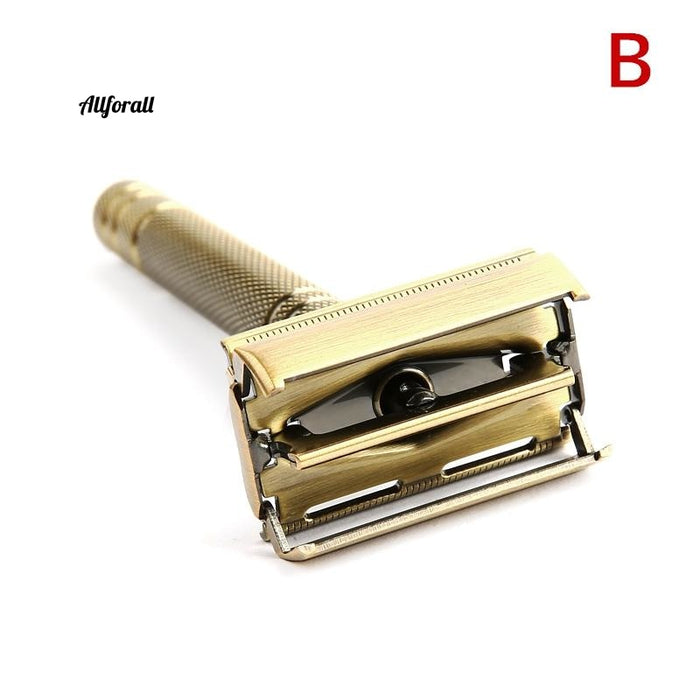 Men Bronze Classic Double-sided Manual Razor Long Handle Safety Razor Shaving, Replaceable Classic Razors