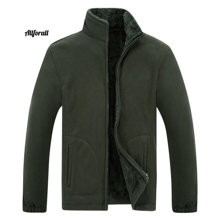 Bărbați Soft Shell Fleece Warm Army Green Green Windbreaker, Plus Size XL ~ 6XL 7XL 8XL Coat