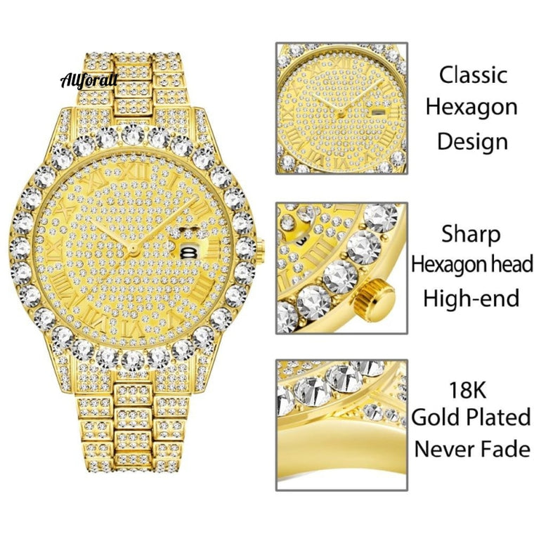 Men Top Selling Luxury Brand Gold, Men Fashion Big Diamond Bracelet Luxury Watch