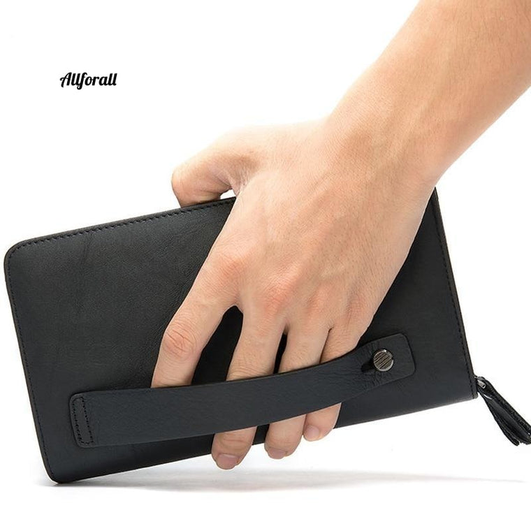 Men Wallet, Genuine Leather Clutch Men Clutch Bag, Double Zip Wallet Leather Long Wallet