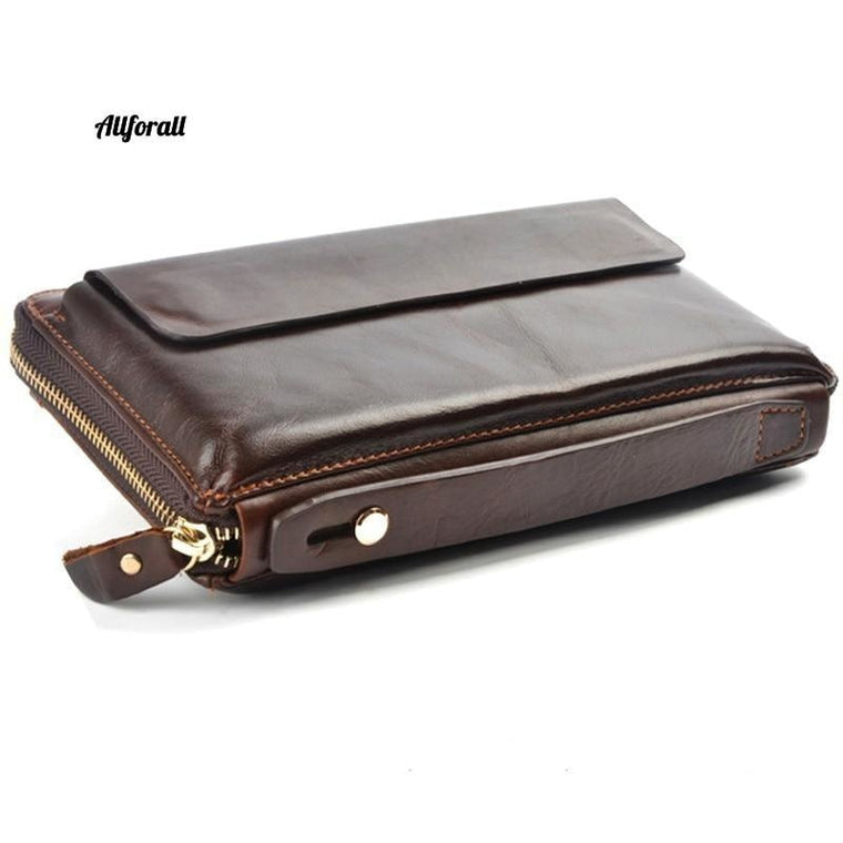 Men Wallets with Phone Bag, Vintage Genuine Leather Clutch Wallet Male Large Capacity Long Wallet