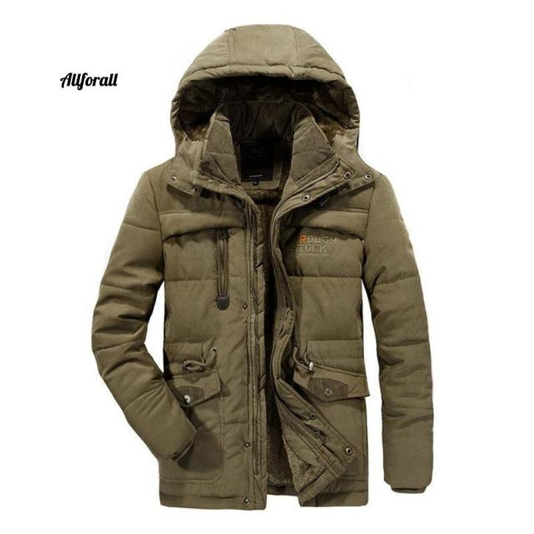 Vinterjacka för män, 6XL 7XL 8XL Tjock varm Parka Fleece Fur Hooded Military Jacket