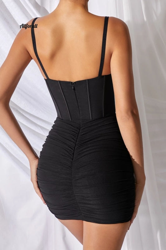 Mesh Spaghetti stropper Kvinder Sash Sexet kjole Mini Natklub Party Bodycon New Fashion Party