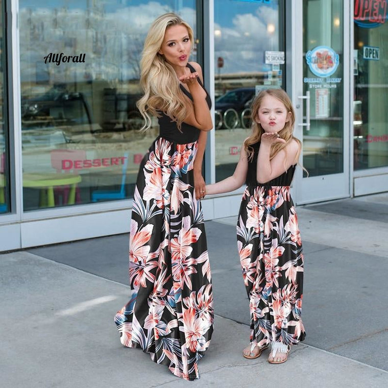 Mom And Daughter Sleeveless Dress, Patchwork Floral Long Dress, Mother Daughter Me Dresses, Family Matching Outfits