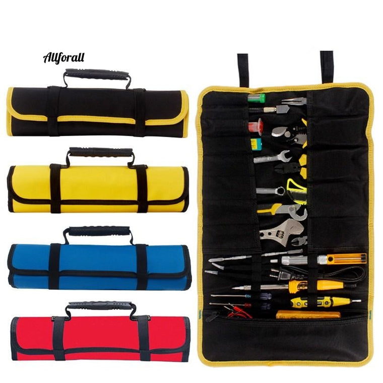 Multi-function Tool Box Bag, Reel Type Woodworking Electrician Repair Canvas Portable Storage Instrument Case