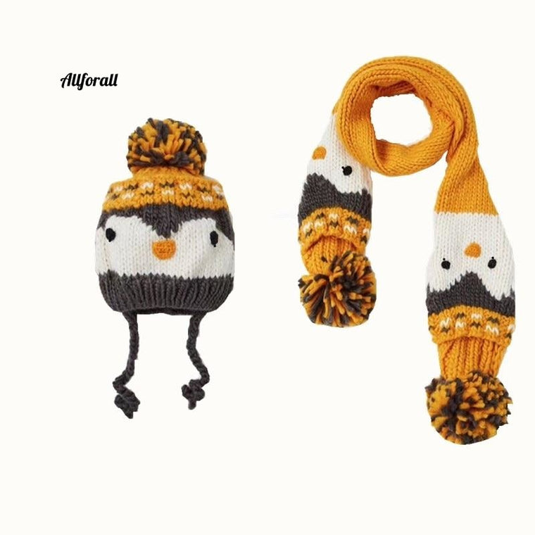 Ny Animal Penguin Cartoon Handmade Sticked Hat och stickad scarfset för baby Unisex Hat