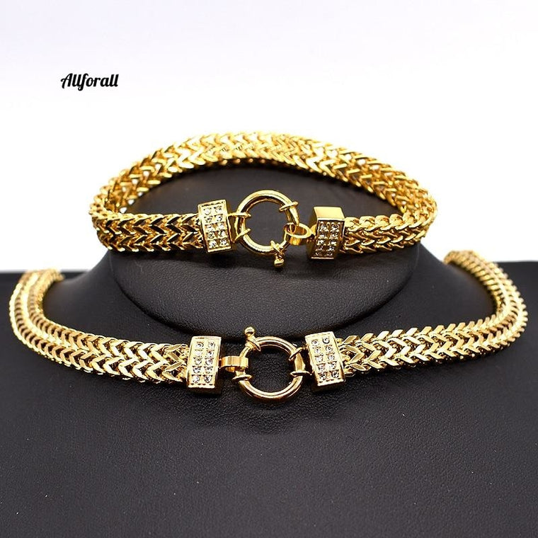New Arrival Men Chain Necklace Bracelet Set, Special Lock Stainless Steel Snake Women gold Color Jewelry
