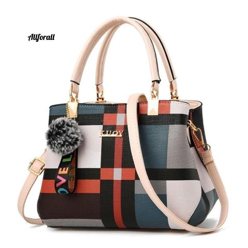 New Casual Plaid Shoulder Bag, Fashion Stitching Wild Messenger Brand Female Cross-body Leather Bag women bags allforall Beige