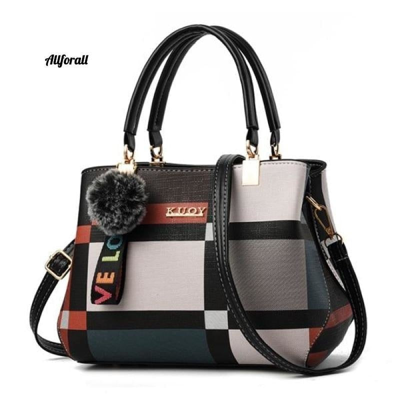 New Casual Plaid Shoulder Bag, Fashion Stitching Wild Messenger Brand Female Cross-body Leather Bag women bags allforall Black