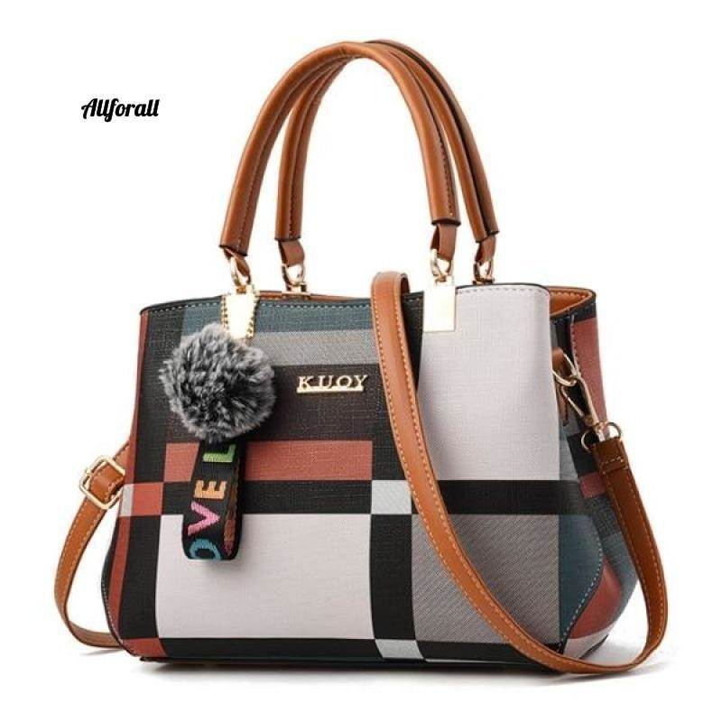 New Casual Plaid Shoulder Bag, Fashion Stitching Wild Messenger Brand Female Cross-body Leather Bag women bags allforall Brown