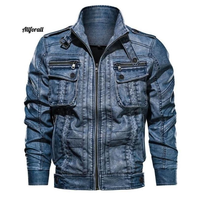 New Casual PU Motorcycle Leather Jacket, Male Plus Size 6XL Jacket Pocket Coat men leather jacket allforall Blue XXL