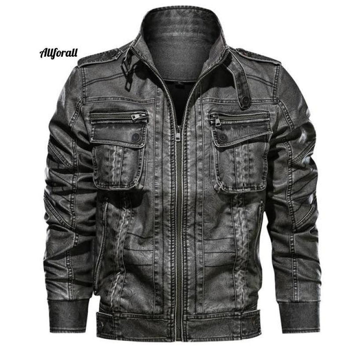 New Casual PU Motorcycle Leather Jacket, Male Plus Size 6XL Jacket Pocket Coat men leather jacket allforall Grey 4XL