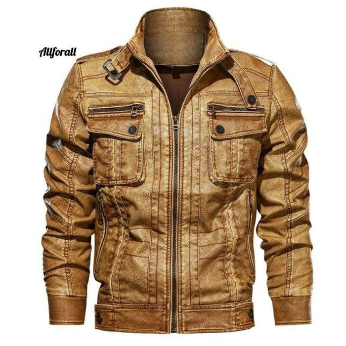 New Casual PU Motorcycle Leather Jacket, Male Plus Size 6XL Jacket Pocket Coat men leather jacket allforall Yellow XL