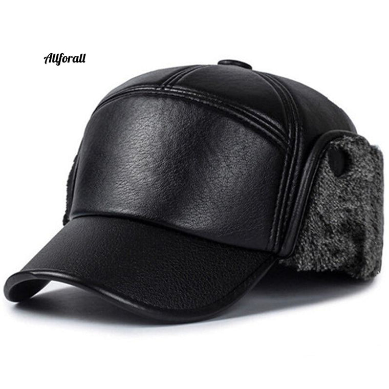 New Fashion Men Leather Trapper Hat, Baseball Cap Outdoors Aviator Ear Flap Men & Women Casual Cap