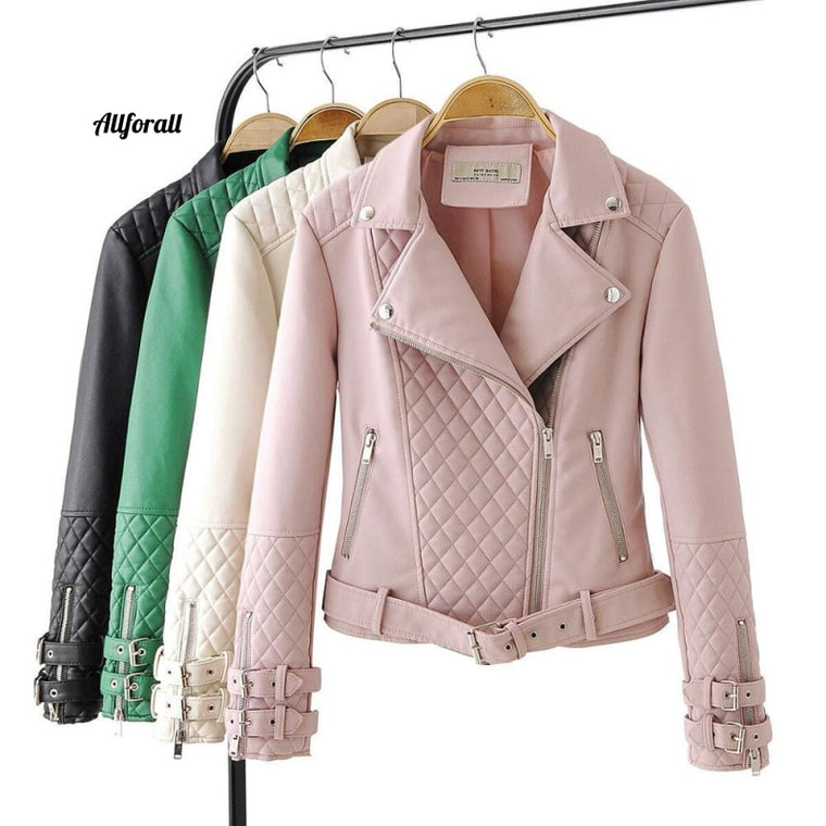 New Fashion Women Soft Faux Leather Jacket, Lady Zippers Biker Coat