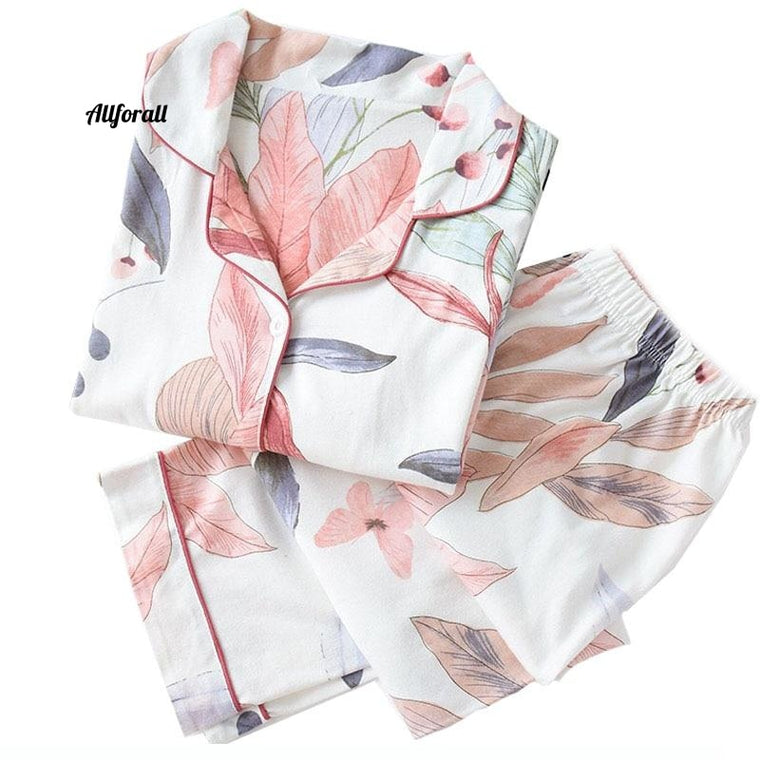 New Ladies Pajamas Set, Floral Printed Full Cotton Fresh Style Sleepwear Set, Women Turn-down Collar Casual Home-wear