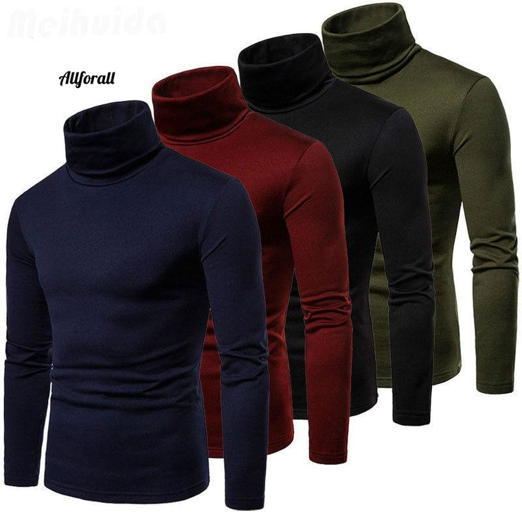 Nieuwe heren warme winter katoenen hoge hals pullover trui, top heren coltrui mode sweater