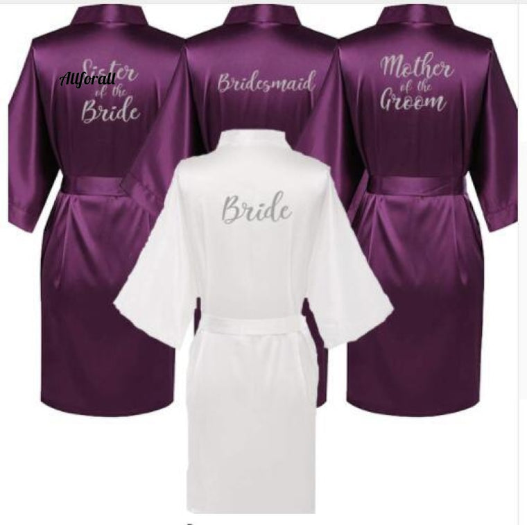 New Purple Robe Silver Writing Mother of the groom Robes, Wedding Short Bride kimono Satin Robe