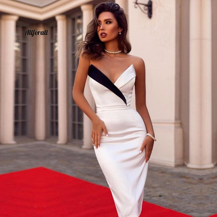 New Summer Women Club Bandage Dress, Sexy Sleeveless White Black V Neck Elegant Celebrity Evening Party Dress