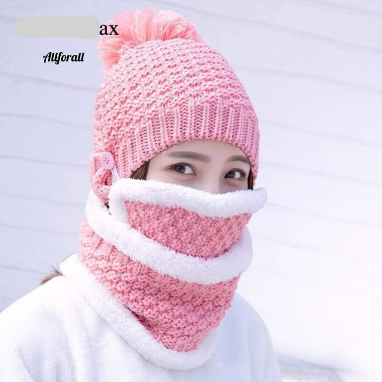 New Thick Plus Cashmere Warm Beanies & Ring Scarf & Masks Hat Scarf, Autumn Winter Women Knit Hat