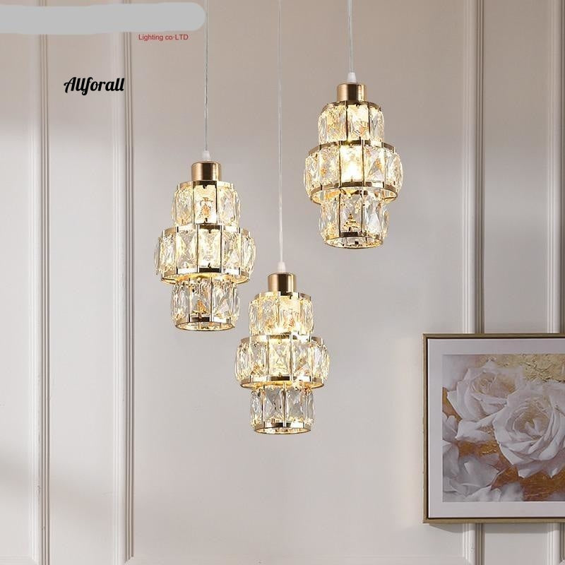 Nordisk LED Pendellampe, Crystal Gold Hanging lampe, Lampada Industrial Modern Light
