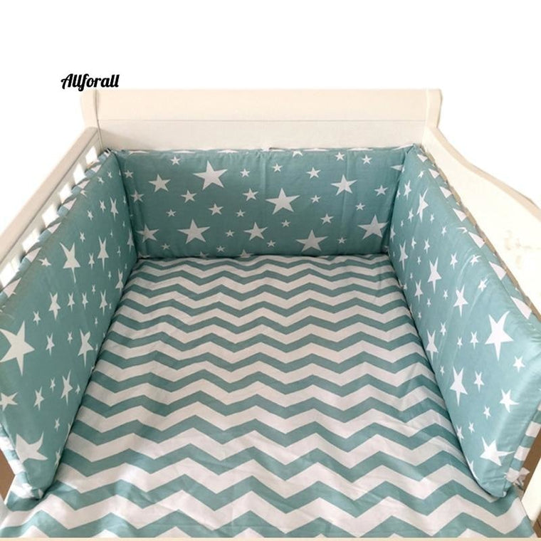 Nordic Stars Design Baby Bed Thicken Bumpers, One-piece Crib All-round Cushion Cot Protector