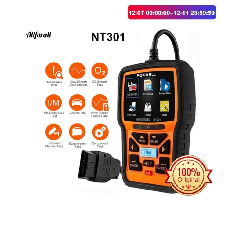 NT301 OBD2 Scanner, Professional Read Clear Code ODB, 2 Automotive Scanner Auto Car Diagnostic Tool with Full OBD Function