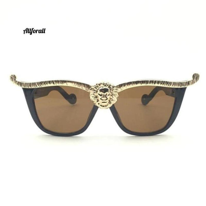 Over-sized Cat Eye Sunglasses, Women Brand Designer Head Luxury Sunglasses women sunglasses allforall C2 Black Brown