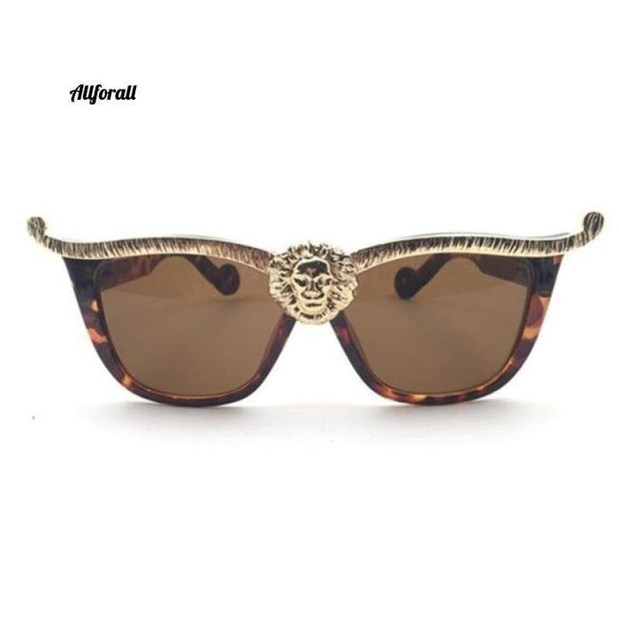 Over-sized Cat Eye Sunglasses, Women Brand Designer Head Luxury Sunglasses women sunglasses allforall C3 Leopard Brown