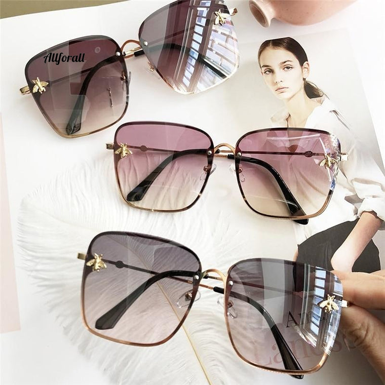 Oversize firkantede solbriller, Celebrity Superstar Luxury Designer Designer Shades UV400
