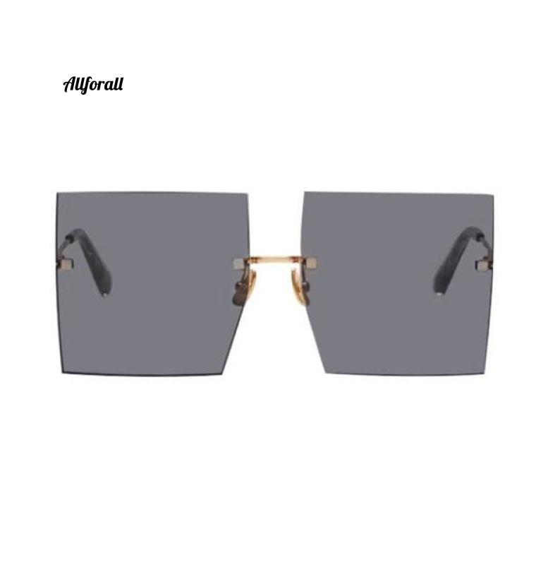 Oversized Rimless Square Sunglasses, Luxury Brand Fashion Flat Top Clear Lens Glasses