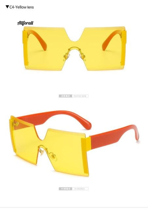 Oversized Square Rimless Brand Designer Flat Top Big Sunglasses