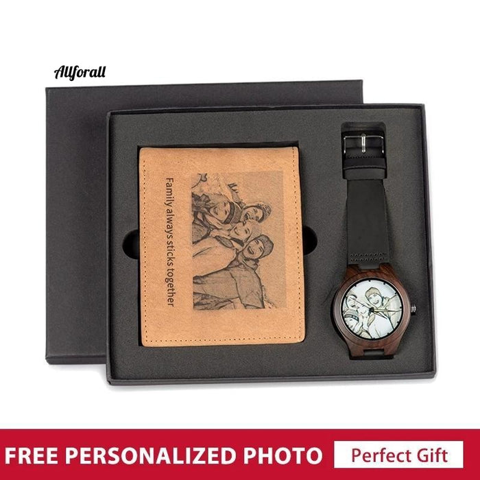 Personalized Photo Watch and Wallet Combo Set, Men Wood Birthday Christmas Gifts for The Man