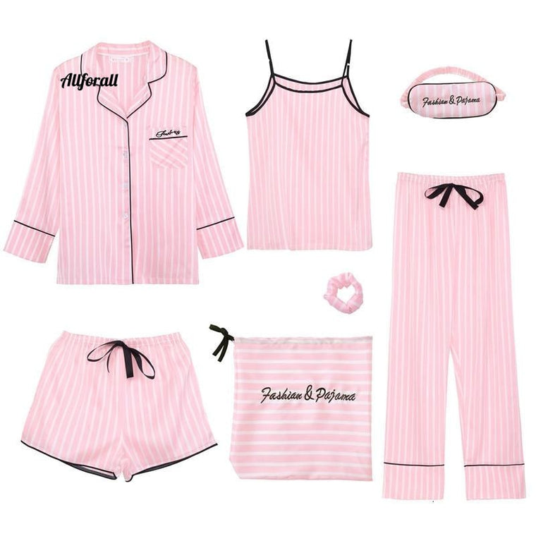 Pink Women 7 Pieces Pajamas Set, Emulation Silk Striped Pajama, Women Sleepwear Set, Home-wear