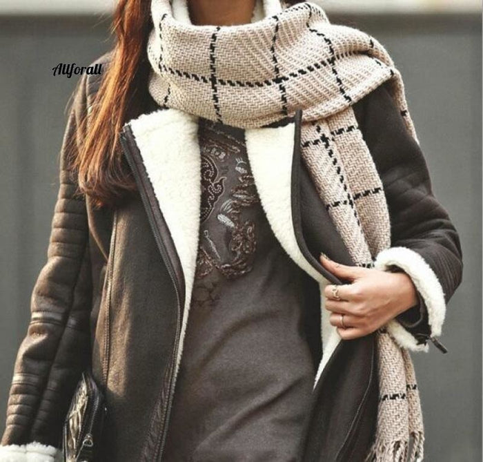 Plaid Scarf Women Black Fashion Warm Women Scarves, Winter Cashmere Scarf Wrap Shawl Blanket Scarf Scarf allforall