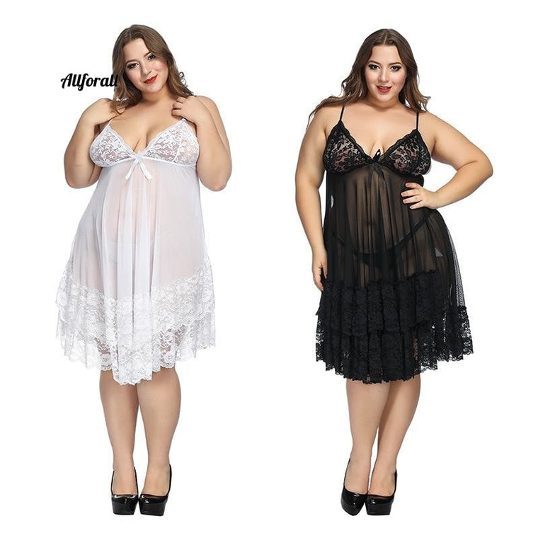 Plus Size 6xl Lingerie, Sleepwear Night Gown Lingerie, Ladies Sexy Lace Baby-dolls Sleepwear, Erotic Sling Home wear