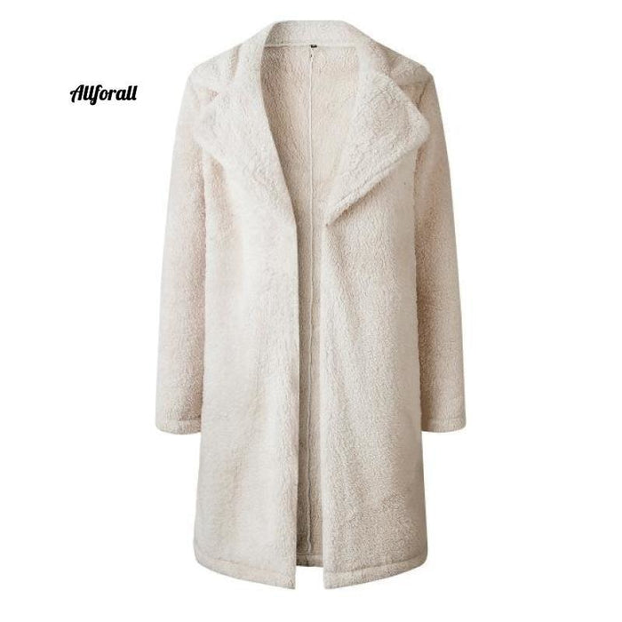 Plus Size Fashion Faux Fur Coat, Women winter Long Coat, Autumn Warm Soft Zipper Teddy Jacket women's elegant jacket allforall Beige L