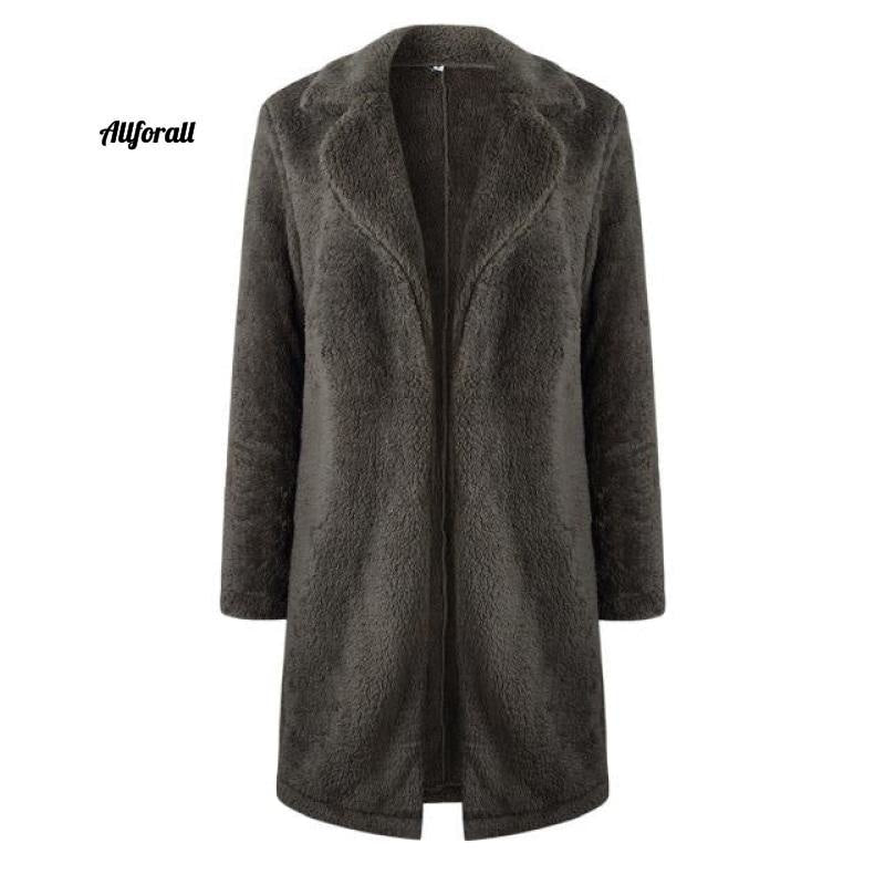 Plus Size Fashion Faux Fur Coat, Women winter Long Coat, Autumn Warm Soft Zipper Teddy Jacket women's elegant jacket allforall Gray L