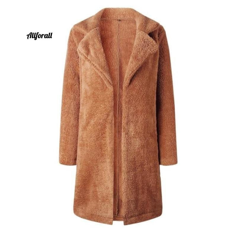 Plus Size Fashion Faux Fur Coat, Women winter Long Coat, Autumn Warm Soft Zipper Teddy Jacket women's elegant jacket allforall Khaki L