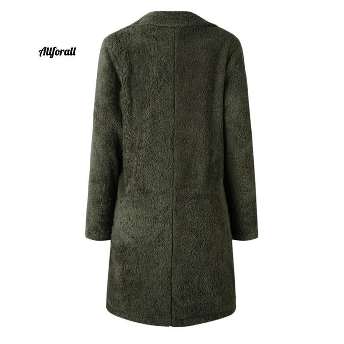 Plus Size Fashion Faux Fur Coat, Women winter Long Coat, Autumn Warm Soft Zipper Teddy Jacket women's elegant jacket allforall