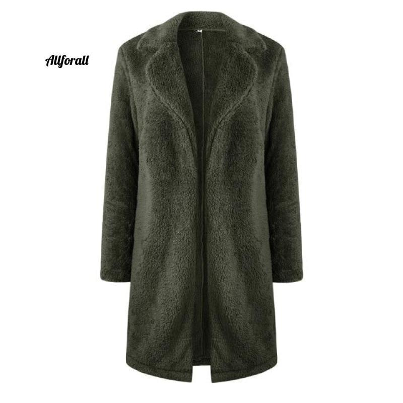 Plus Size Fashion Faux Fur Coat, Women winter Long Coat, Autumn Warm Soft Zipper Teddy Jacket women's elegant jacket allforall Army Green L